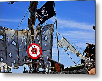 Pirate Ship With Target Metal Print by Garry Gay