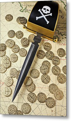 Pirate Sword And Gold Coins On Old Map Metal Print