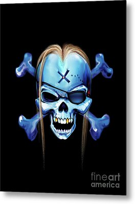 Metal Print featuring the drawing Pirate X by Brian Gibbs