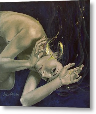 Pisces From Zodiac Series Metal Print by Dorina  Costras