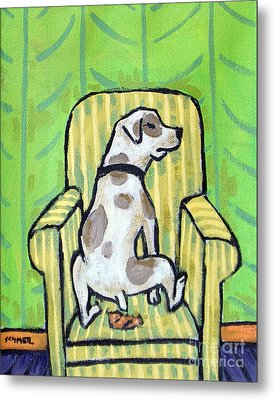 Pit Bull Terrier Doing A Number 2 In A Chair Metal Print by Jay  Schmetz