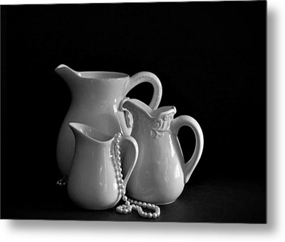 Pitchers By The Window In Black And White Metal Print by Sherry Hallemeier