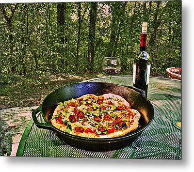 Metal Print featuring the photograph Pizza And Vino by William Fields