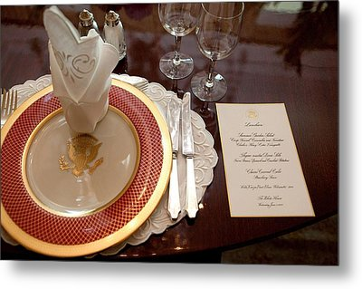 Place Setting Of The White House China Metal Print