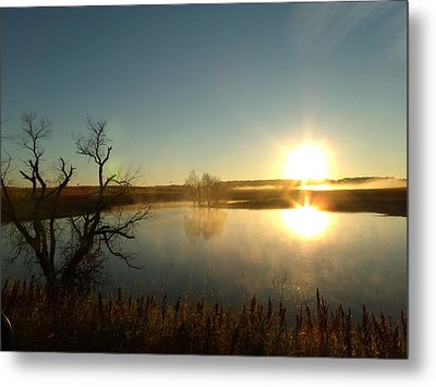 Placid Glass Lake At Dawn Metal Print by Brian  Maloney