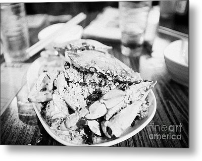 Plate Of Spicy Crab Seafood At A Table In An Outdoor Cafe At Night Kowloon Hong Kong Hksar China Metal Print by Joe Fox