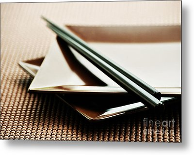Plates And Chopsticks Metal Print by HD Connelly