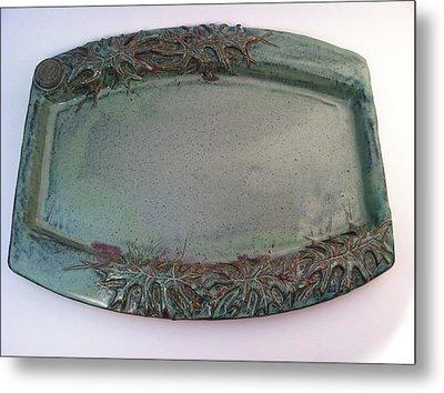 Platter With Pin Oak Leaves Metal Print by Carolyn Coffey Wallace