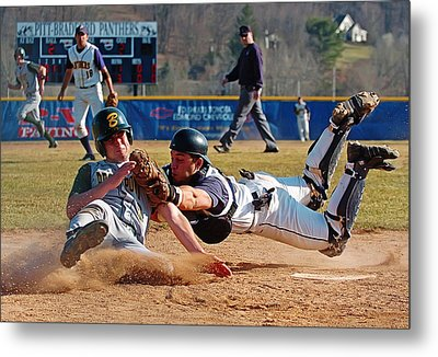 Play At The Plate Metal Print by Wade Aiken