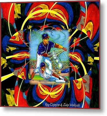 Play Ball  Getting On Base Metal Print by Ray Tapajna
