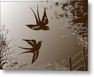 Playful Swalows Digital Art Metal Print by Georgeta  Blanaru