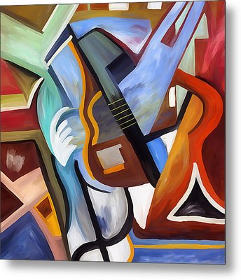 Playing Guitar Metal Print by Amarok A