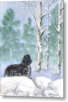 Metal Print featuring the painting Playing In The Blizzard by Sharon Nummer