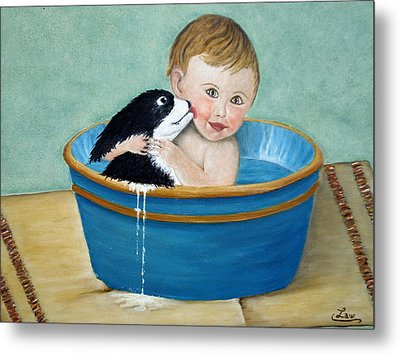 Playing In The Tub Metal Print by Chris Law