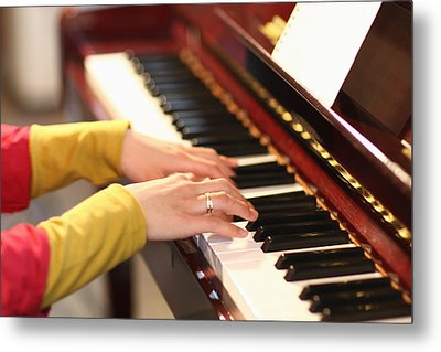 Playing The Piano Metal Print by Datacraft Co Ltd