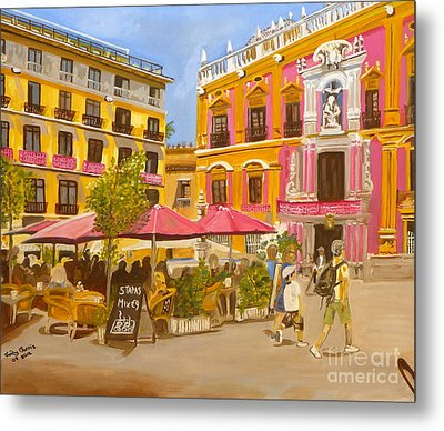 Metal Print featuring the painting Plaza Malaga by Judy Morris