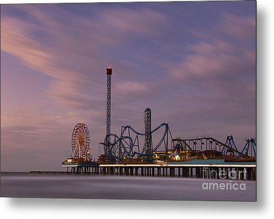 Pleasure Pier Amusement Park Galveston Texas Metal Print