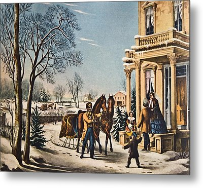 Pleasures Of Winter By Currier And Ives Metal Print by Susan Leggett