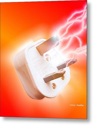 Plug With Electric Current Metal Print by Victor Habbick Visions