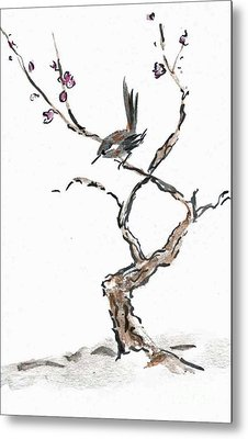 Plum Blossoms Metal Print by Ellen Miffitt