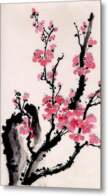 Metal Print featuring the painting Plum Blossoms Iv by Yolanda Koh