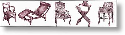 Plum Chair Poster Horizontal  Metal Print by Adendorff Design