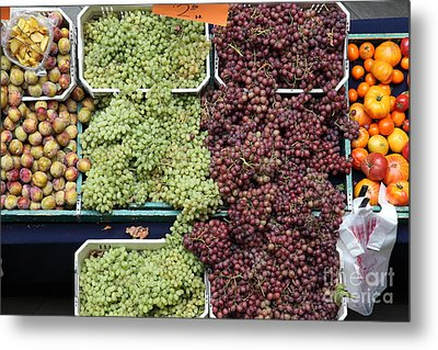 Pluots Grapes And Tomatoes - 5d17903 Metal Print by Wingsdomain Art and Photography