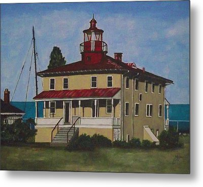 Point Lookout Lighthouse Md Metal Print by Kim Selig