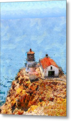 Point Reyes Lighthouse In California . 7d15989 Metal Print by Wingsdomain Art and Photography