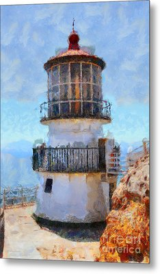 Point Reyes Lighthouse In California . 7d16008 Metal Print by Wingsdomain Art and Photography