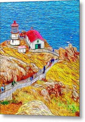 Point Reyes Lighthouse Metal Print by Wingsdomain Art and Photography