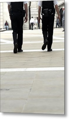 Police Officers Patrolling Metal Print by Tony Mcconnell