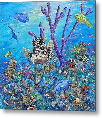 Metal Print featuring the mixed media Polka-dot Beauty by Li Newton