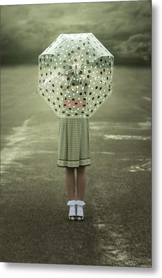Polka Dotted Umbrella Metal Print by Joana Kruse