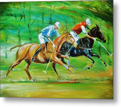 Polo Horses Metal Print by Unique Consignment