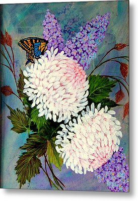 Metal Print featuring the painting Pom Pom Mums by Fram Cama