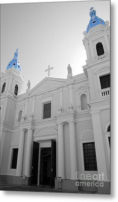 Ponce Puerto Rico Cathedral Of Our Lady Of Guadalupe Color Splash Black And White Metal Print by Shawn O'Brien
