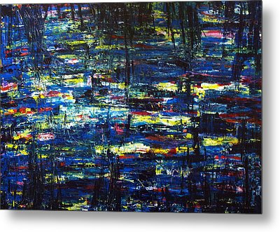 Pond At Night Metal Print