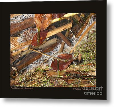 Pond Debris With Bubbles-iii Metal Print by Patricia Overmoyer