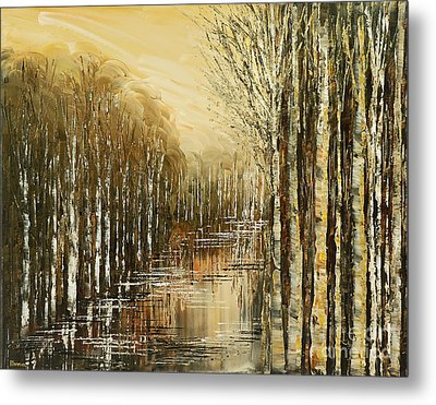 Metal Print featuring the painting Pond Security by Tatiana Iliina