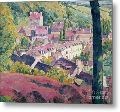 Pont Aven Seen From The Bois D'amour Metal Print by Emile Bernard