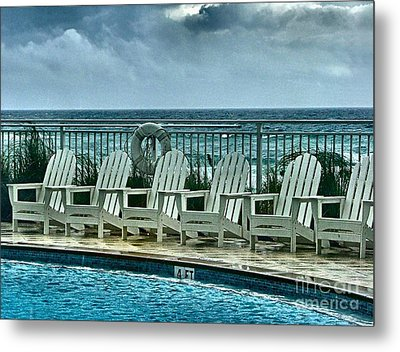 Poolside With A View Metal Print by Julie Dant