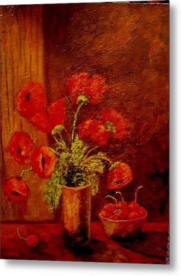 Poppies And Cherries Metal Print
