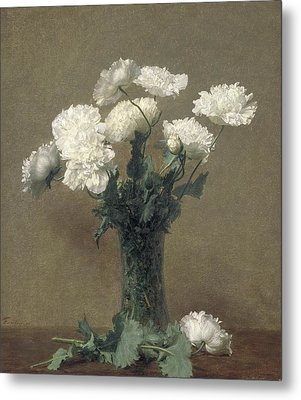 Poppies Metal Print by Ignace Henri Jean Fantin-Latour