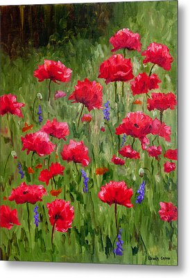 Poppies In A Meadow I Metal Print