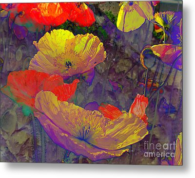 Metal Print featuring the mixed media Poppies by Irina Hays