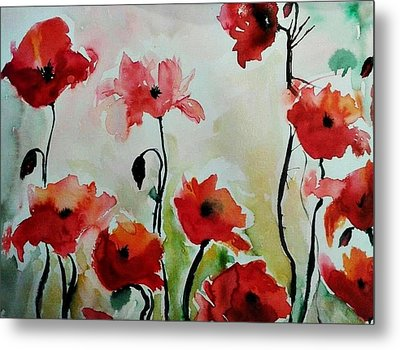 Poppies Meadow - Abstract Metal Print by Ismeta Gruenwald