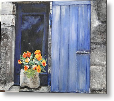 Metal Print featuring the painting Poppies On The Windowsill by Cindy Plutnicki