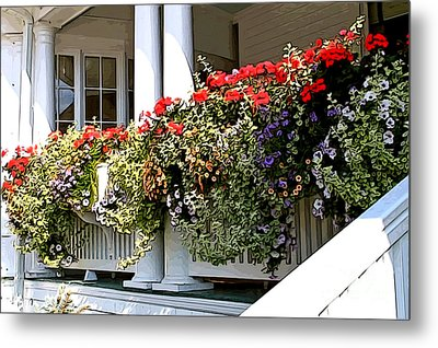Metal Print featuring the photograph Porch Flowers by Anne Raczkowski
