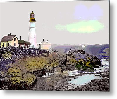 Metal Print featuring the mixed media Portland Head Light by Charles Shoup